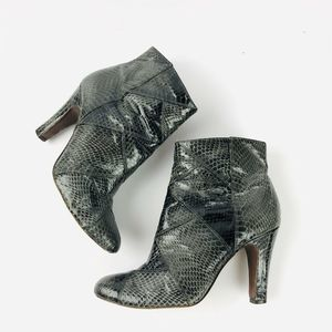 Frye Ava Leather Shootie Snakeskin Bootie Ankle
